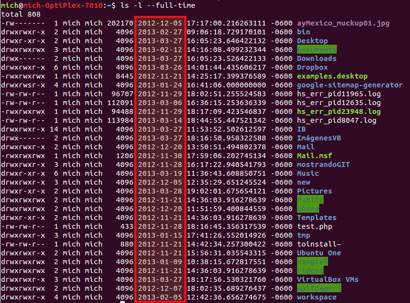 Listar archivos modificados en un rango de fechas usando ls --full-time